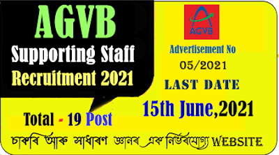 Assam Gramin VIkash Bank Support Staff Recruitment 2021