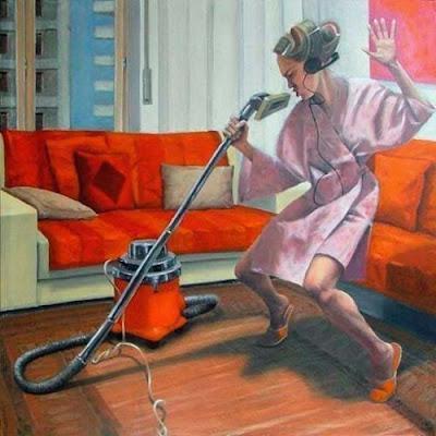 Humor Bilder - Hausfrau beim Staubsaugen