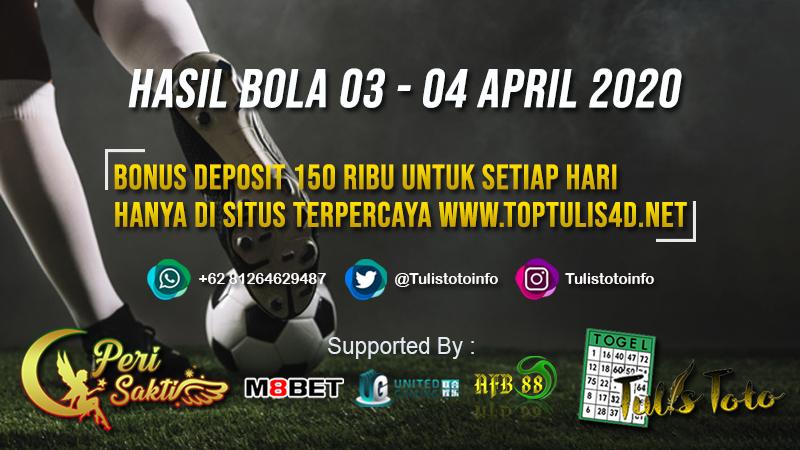 HASIL BOLA TANGGAL 03 – 04 APRIL 2020