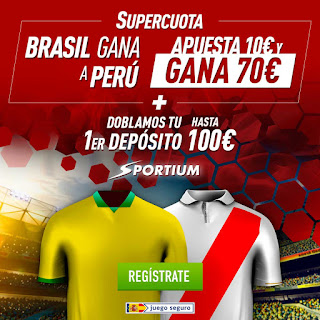sportium dobla tu primer depósito hasta 100€ + Supercuota: Brasil gana Peru 7 julio 2019