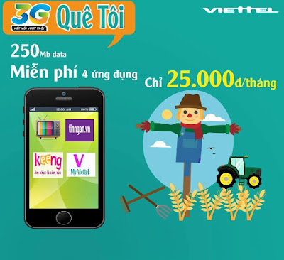 Cách đăng ký gói cước 3G Quê tôi của Viettel