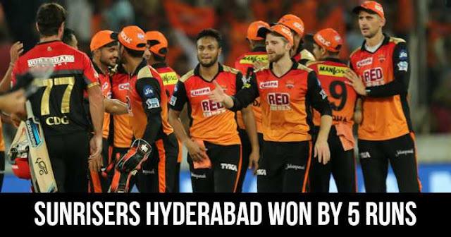 Sunrisers Hyderabad won by 5 runs