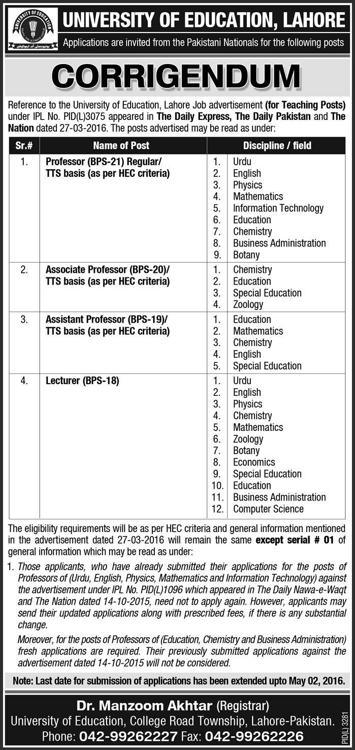 Teaching Faculty Jobs in University of Education Lahore