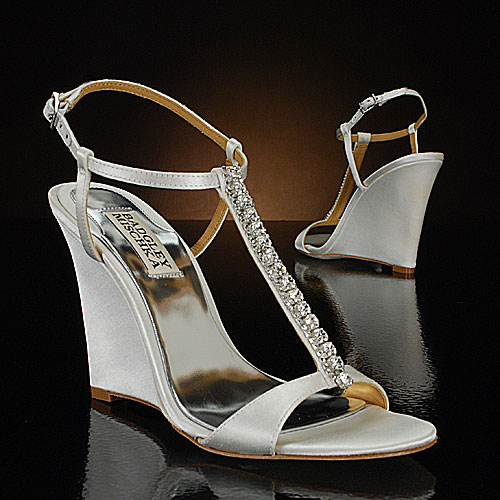 White Wedge Shoes With Rhinestones