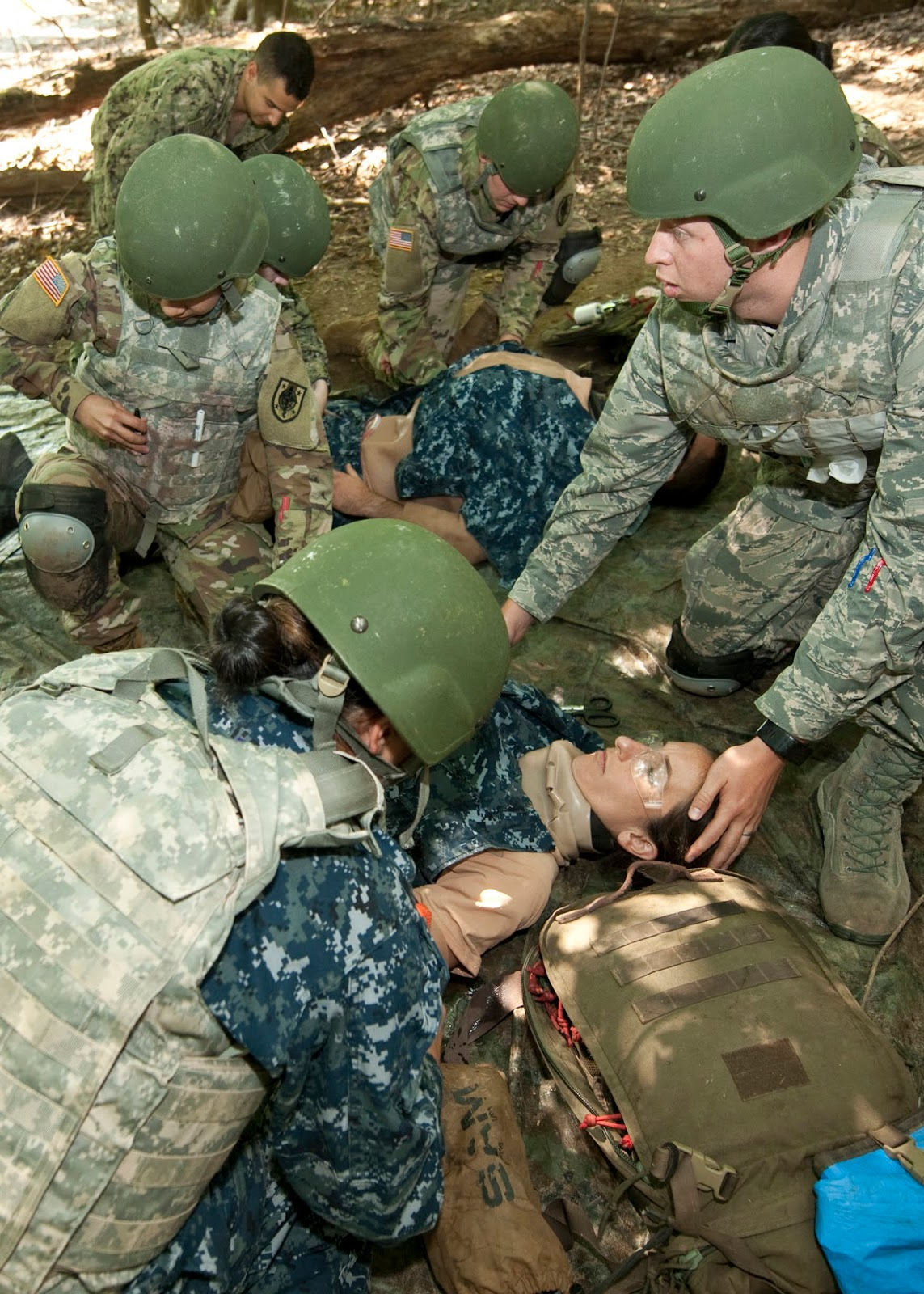 students participate in a field exercise