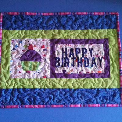 Paper pieced cupcake birthday mini quilt