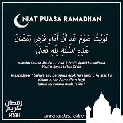 Niat Puasa Ramadan, Doa Berbuka Puasa Dan Niat Solat Terawih