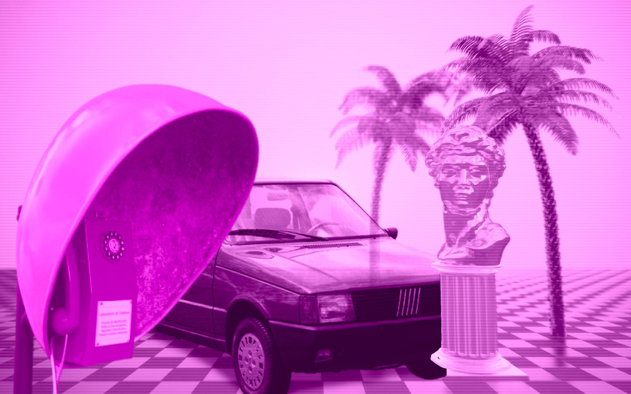 um carro velho, um orelhão, palmeiras, e uma estatua