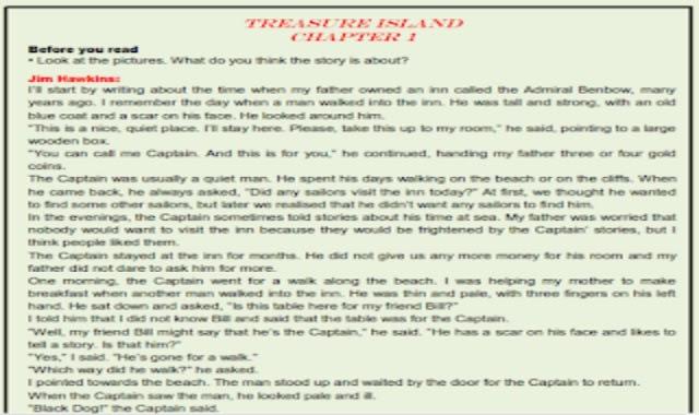 نص قصة جزيرة الكنز Treasure Island المقررة على الصف الاول الثانوى واسئلة عليها من موقع درس انجليزي