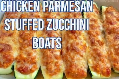 Keto Chicken Parmesan Stuffed Zucchini Boats (A quick & easy healthy dinner recipe!)