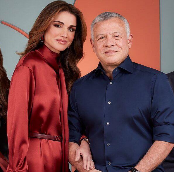 Princess Iman and Princess Salma. Rania wore a burgundy silk satin tie neck long dress from Sies Marjan. tie-neck silk-satin dress from Roksanda