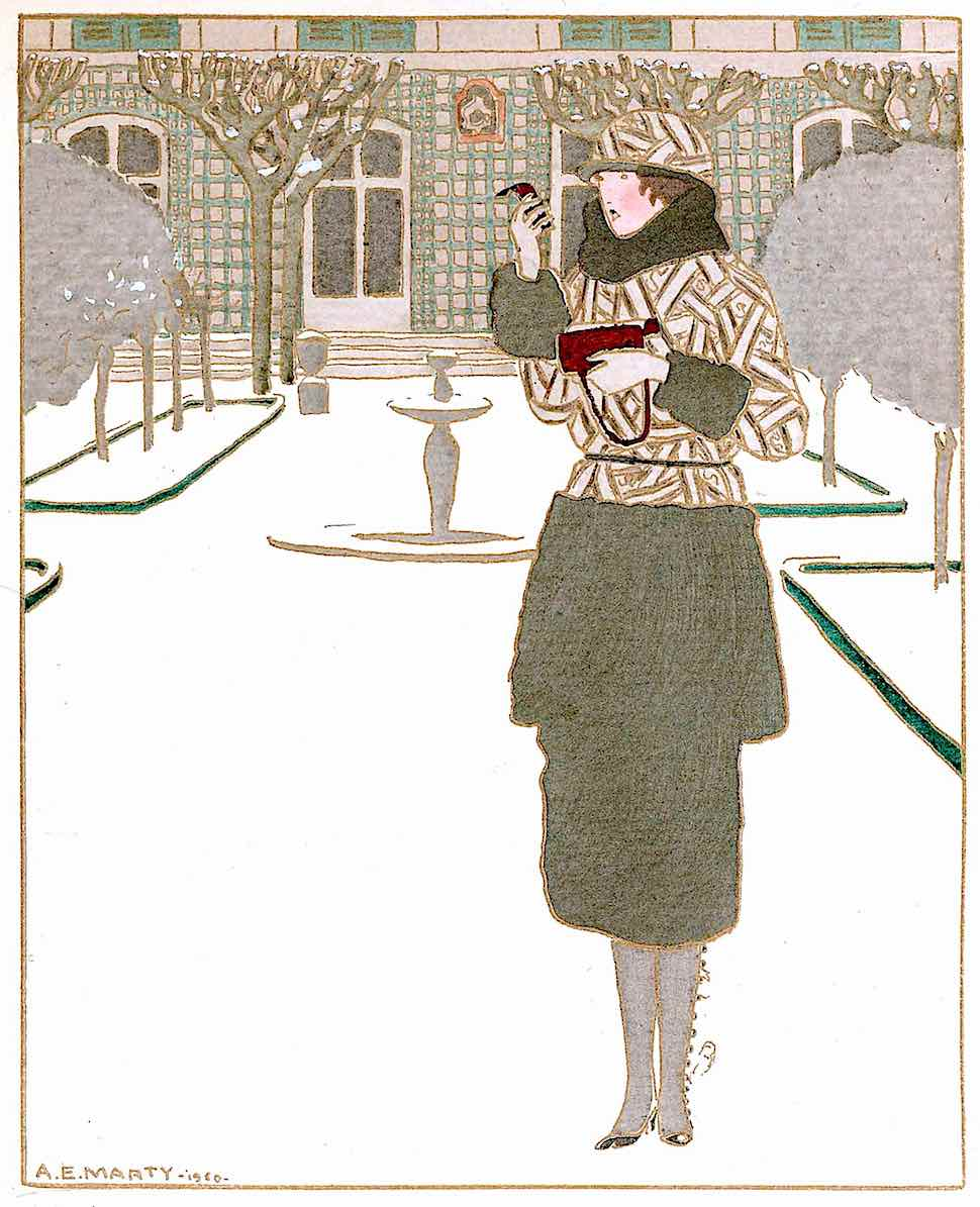 an André Edouard Marty 1910 fashion illustration of a woman with a small mirror outside in winter
