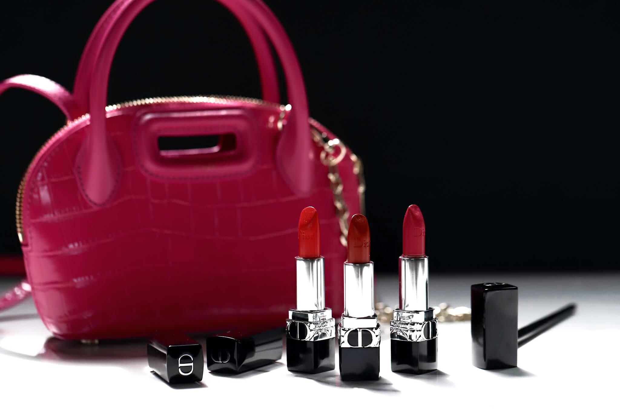 Dior Rouge Satiné 766 rose harpers 849 rouge cinema 844 trafalgar