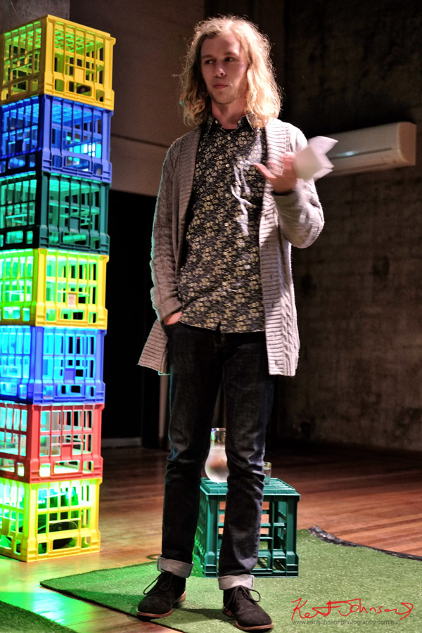 Street Artist Harrison Earl speaking at the Casula Powerhouse Subculture Slam.
