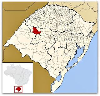 Cidade de Santiago, no mapa do Rio Grande do Sul.