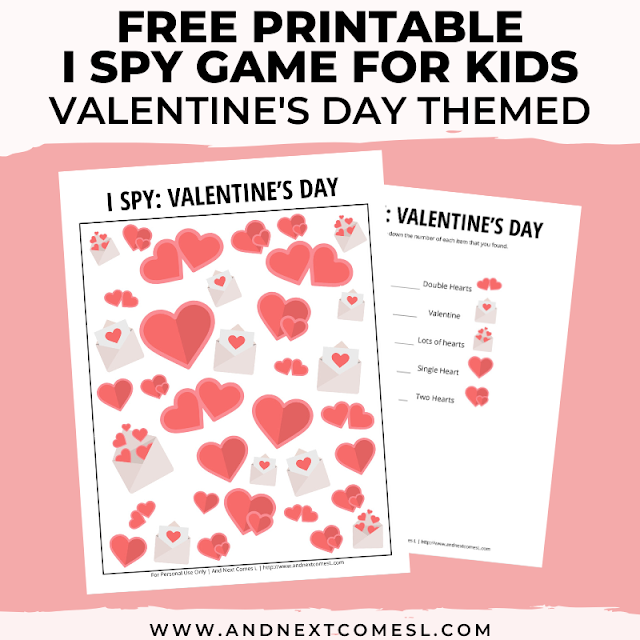 Free I spy game printable for kids: Valentine's Day themed