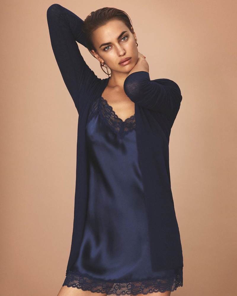 Irina Shayk poses in cardigan and camisole dress for Intimissimi New Fibers campaign