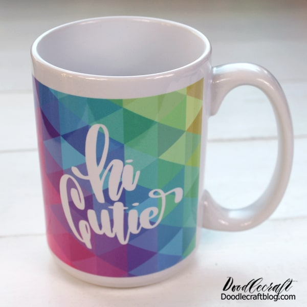 This fun craft uses a Sublimation mug. This is a special mug with a coating on it that reacts with the ink to transfer it flawlessly, vividly and absolutely seamlessly. I'm using the 15 ounce mug size...I love the size and the large handle!