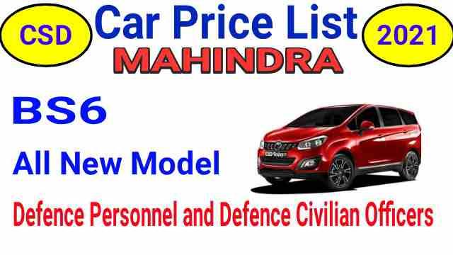 CSD Car Price List 2021 Mahindra Delhi and Jammu