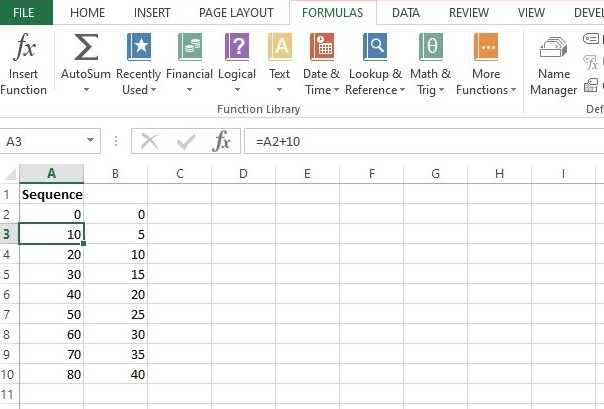 How to make Number sequence in excel