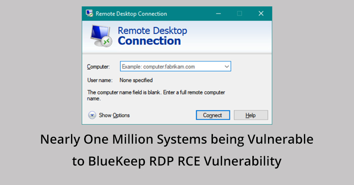 Bluekeep vulnerability  - Bluekeep 2Bvulnerability - Nearly One Million Systems being Vulnerable to BlueKeep RDP Bug