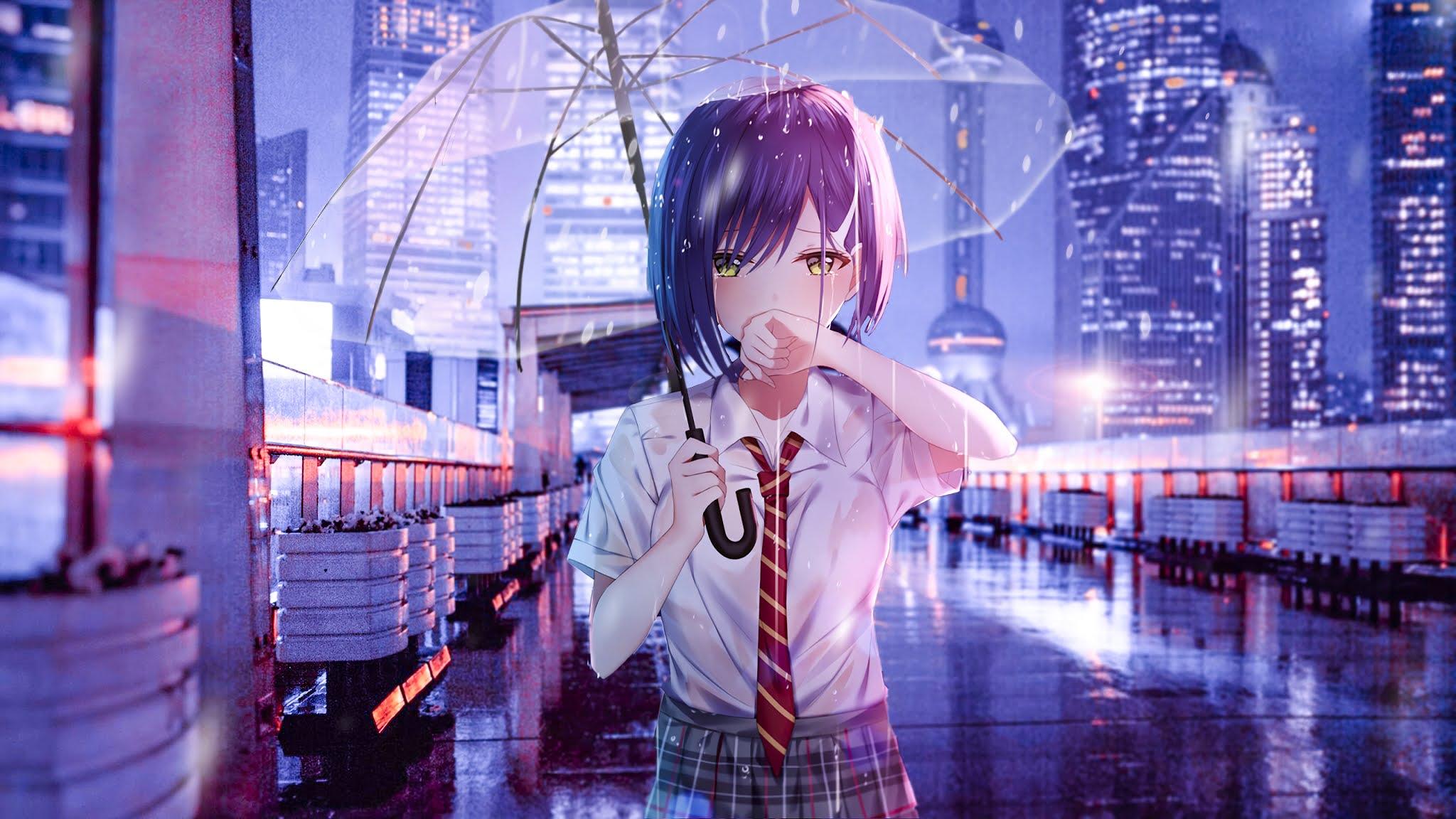 anime girl crying in the rain