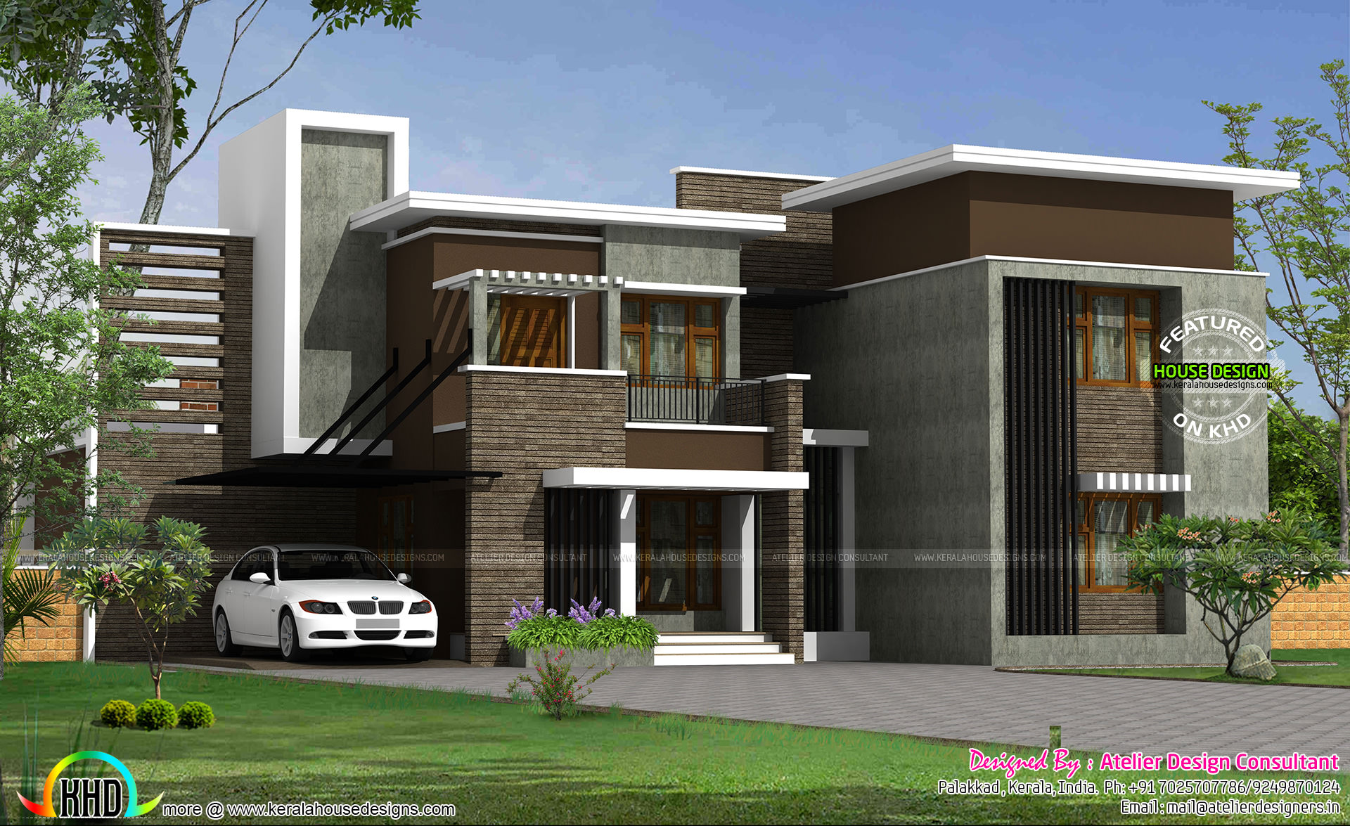 Contemporary 2750 sq ft floor plan kerala home design for Types house designs