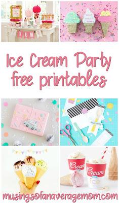ice cream party free printables