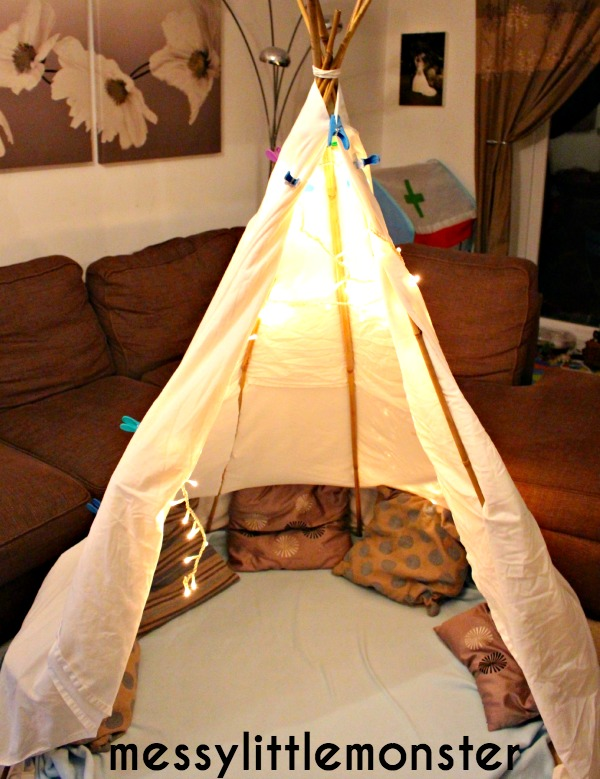 how to make a simple den.  NO SEW TEEPEE