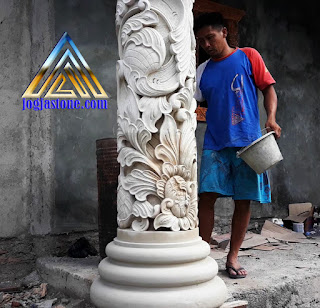 Pilar teras ukir batu alam paras jogja (Batu putih) trangkil, pati, jawa tengah