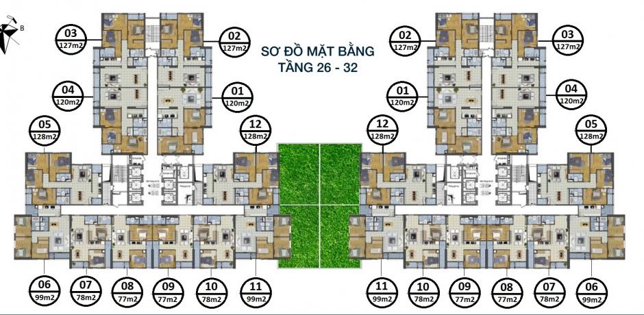 Mặt bằng căn hộ dự án Chung cư GoldSilk Complex Vạn Phúc