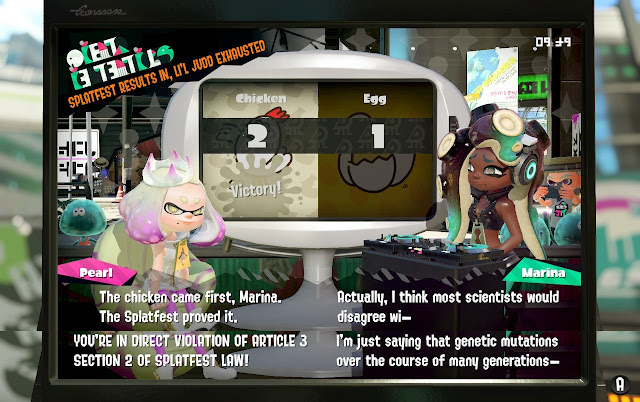 Splatoon 2 Splatfest law article 3 section 2 chicken came first before egg Pearl
