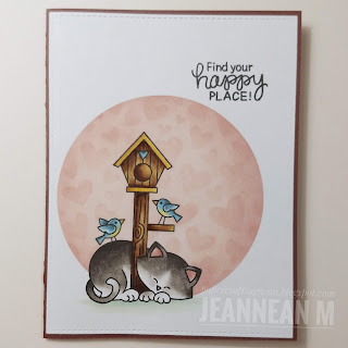 Find Your Happy Place Card by May Guest Designer Jeannean Marshall   Newton's Birdhouse Stamp Set and Tumbling Hearts Stencil by Newton's Nook Designs #newtonsnook #handmade