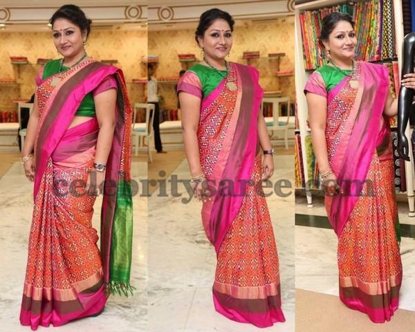 7c68056911bf5 Orange Pochampally Print Silk Saree - Saree Blouse Patterns
