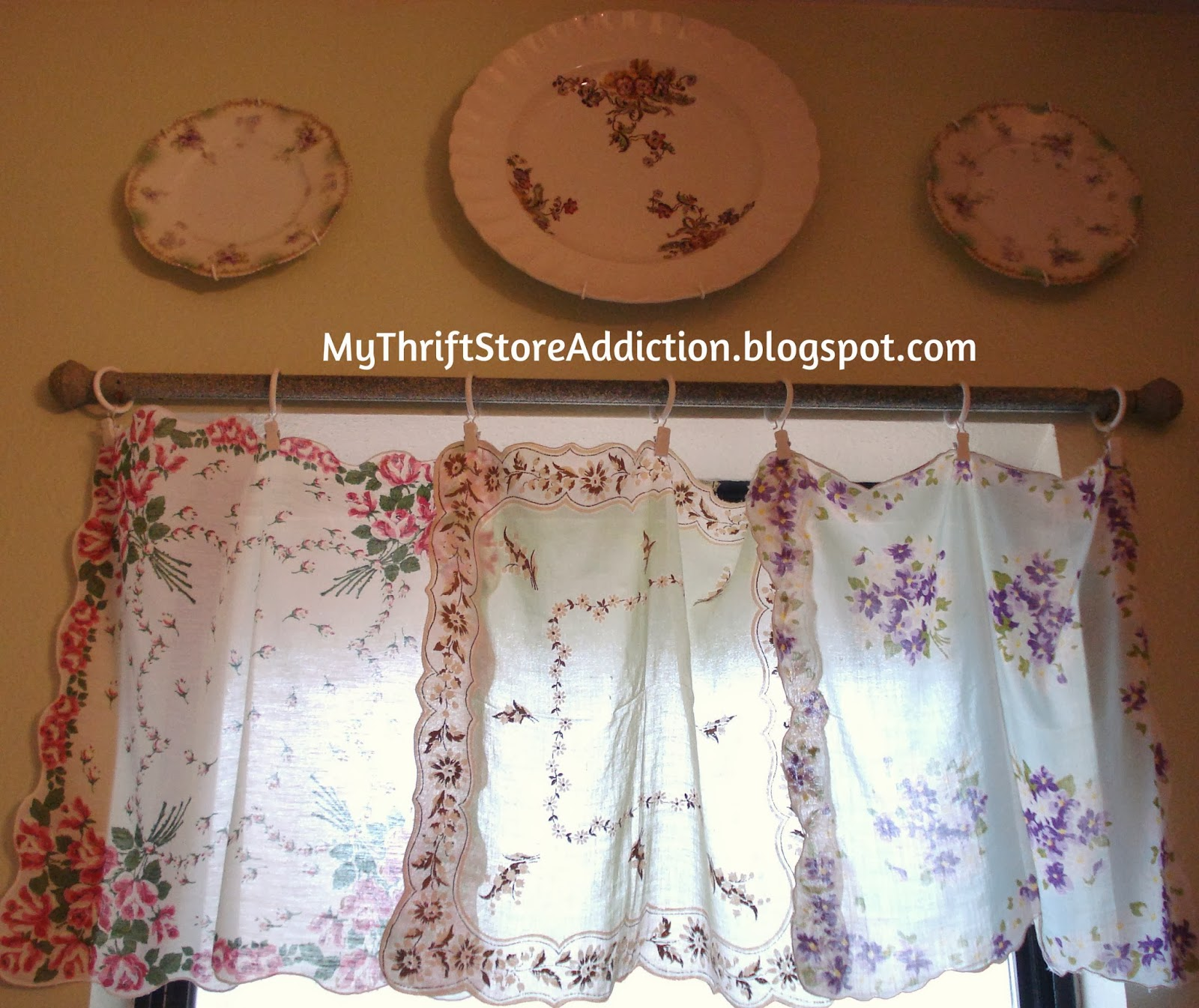 Vintage hankie window valance