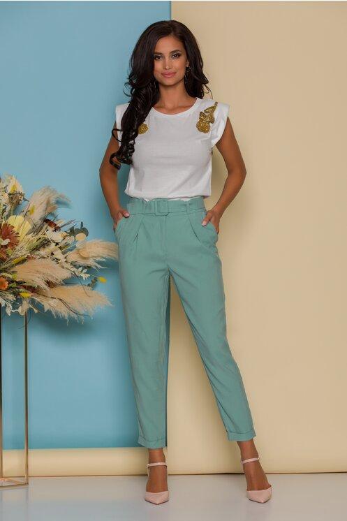 Pantaloni dama casual conici verzi cu cordon cu catarama