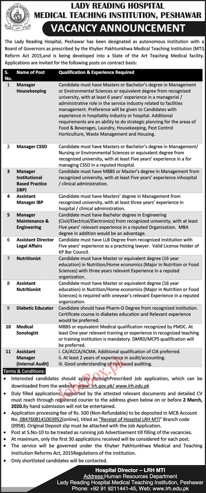 Jobs Lady Reading Hospital LRH Peshwar 2020