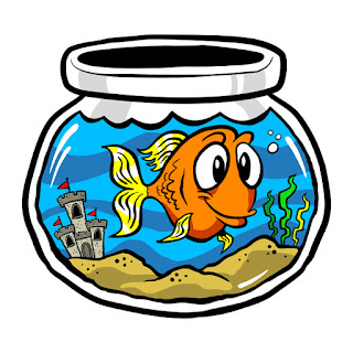 Cartoon of goldfish with big eyes in bowl