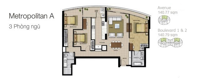 Mặt bằng căn hộ City Garden: Metropolitan A 3 phòng ngủ