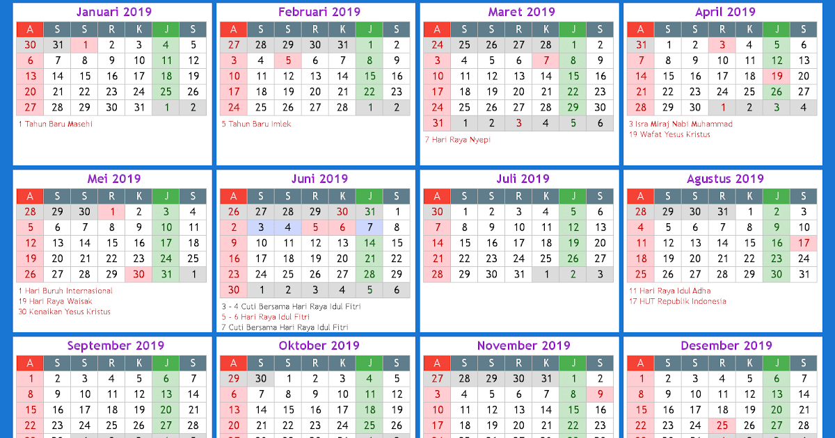 Kalender 2019 Beserta Hari Libur