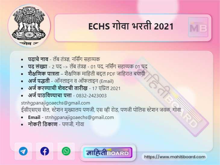 ECHS Goa Recruitment 2021