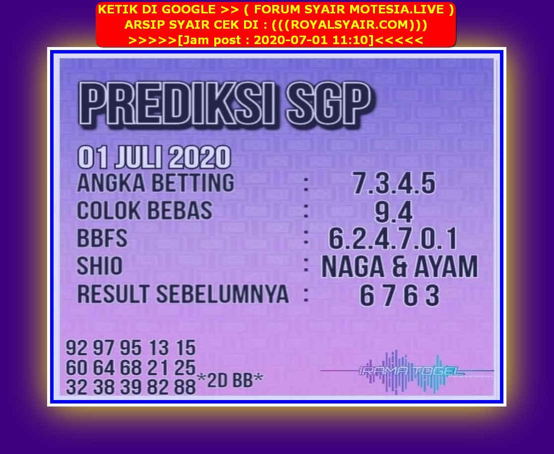 Kode syair Singapore Rabu 1 Juli 2020 188