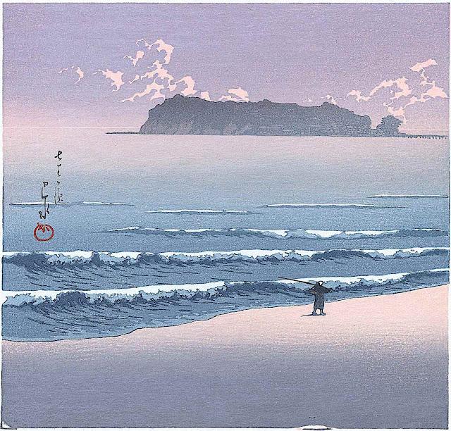 Kawase Hasui, a fisherman walking along the beach