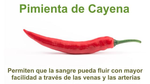 La pimienta de cayena permiten que la sangre pueda fluir con mayor facilidad a través de las venas y las arterias