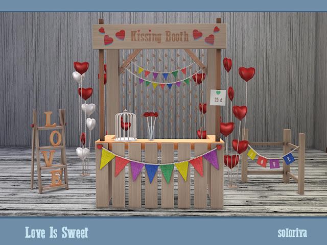 Симс 4, для The Sims 4, The Sims 4, моды для Sims 4, предметы для Sims 4, Severinka_, праздничное, украшения для Sims 4, декор для Симс 4, soloriya, День св. Валентина, романтическое, романтический декор, для День св. Валентинаа, романтика, сердце, любовь, влюбленные, День св. Валентина в Sims 4, , свечи, свадьба, Love Is Sweet Любовь сладка для The Sims 4 Создайте романтическое настроение с этим набором. Включает в себя 14 предметов. Имеет 3 цветовые палитры и 2-6 цветовых вариаций для каждого объекта. Предметы в наборе: - два стола с бочками - Я сумматор - балки - декоративная будка для поцелуев - два вида воздушных шаров - декоративный забор - фонарь - клетка с сердцем - декоративные губы в стакане - два вида кексов - яблоки. Автор: soloriya