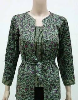 Contoh Model Baju Batik Kerja Guru Lengan Panjang