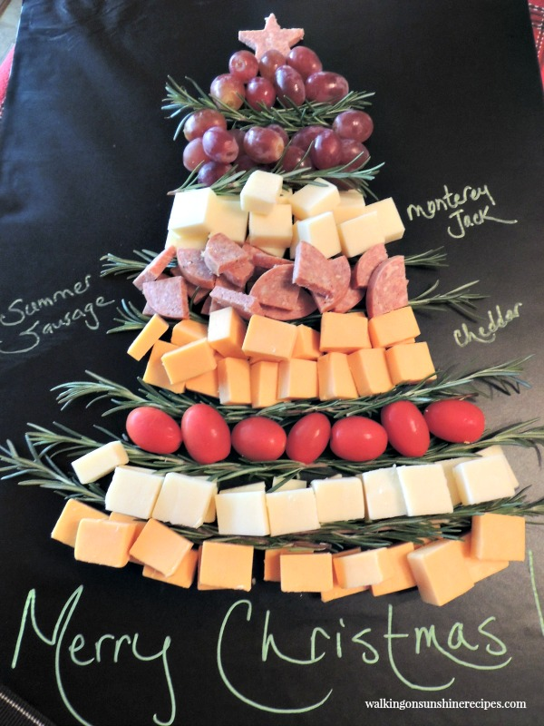 Christmas Tree Cheese Board Platter with Labels from Walking on Sunshine Recipes