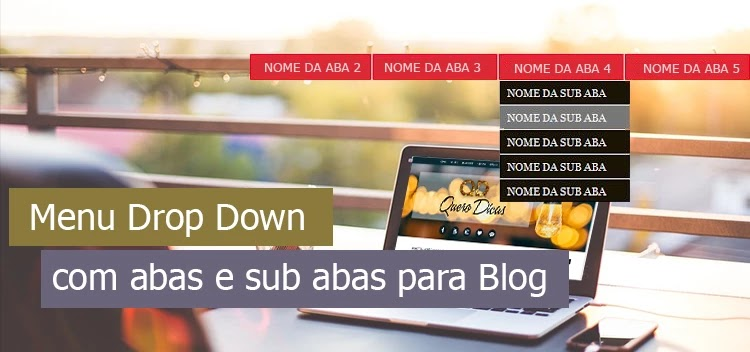 Menu drop down com abas e sub abas