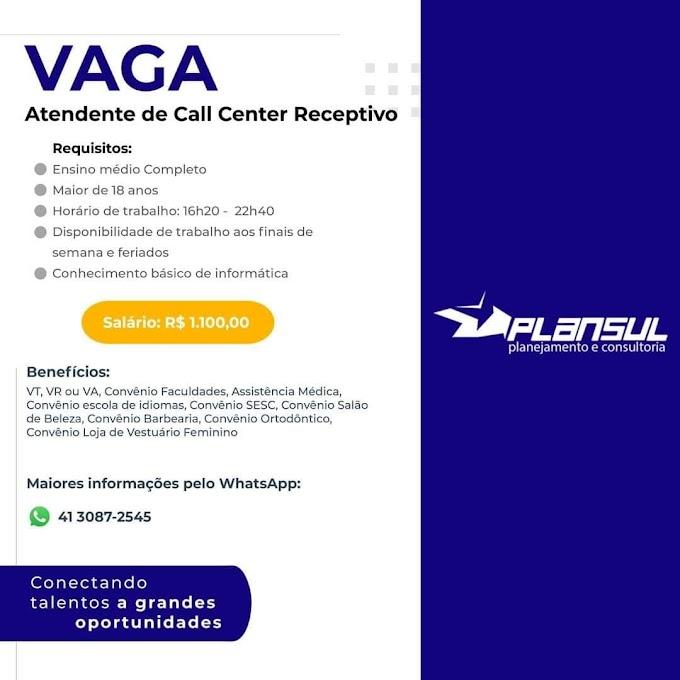 Atendente de Call Center Receptivo, Curitiba, PR