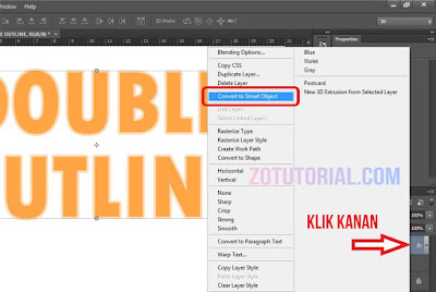 Tutorial Membuat Double Garis Outline di Photoshop (Garis Ganda) Tulisan - Convert